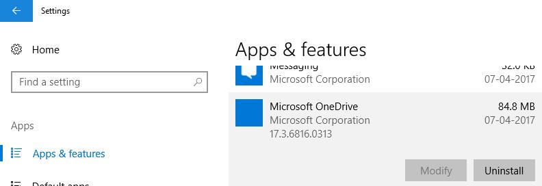 Windows 10 Creators Update allows to Uninstall OneDrive