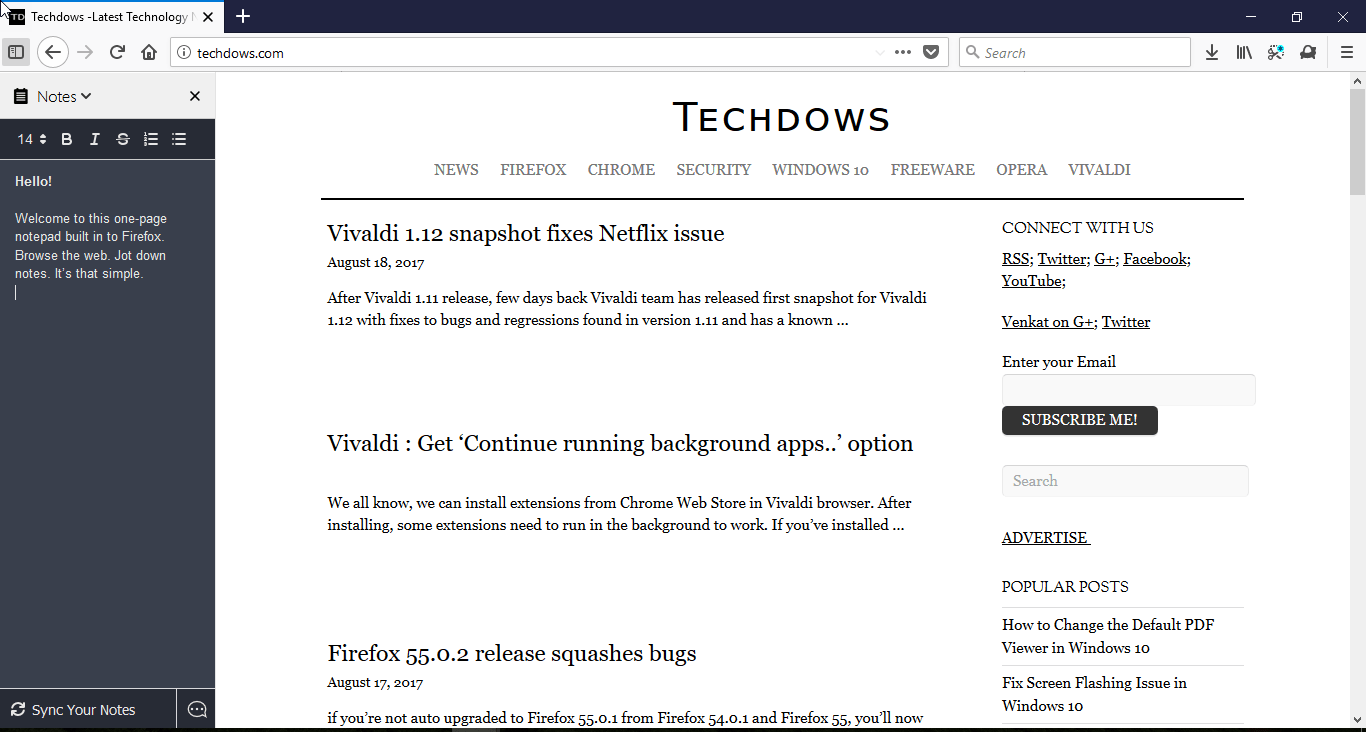 Firefox Notes Test Pilot add-on gains dark theme and a Keyboard Shortcut