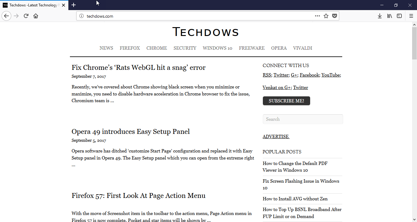 Firefox 57 : Search bar no longer displayed by default