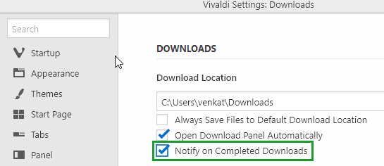 how to disable vivaldi s download complete notifications