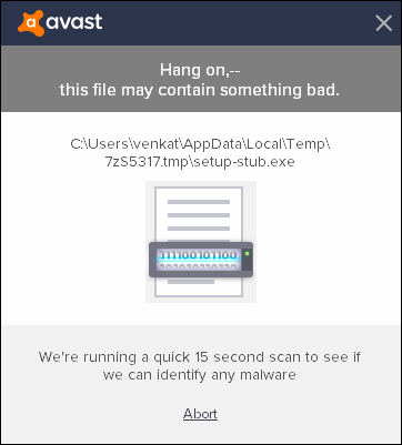 avast exception unknown software