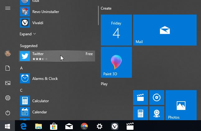 Stop App Suggestions in Start Menu in Windows 10