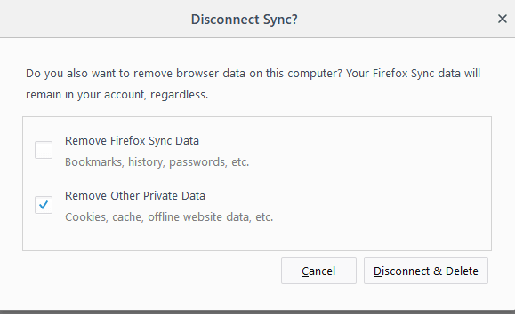 disconnect firefox account