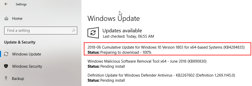 KB4284835 for Window 10 version 1803 Released