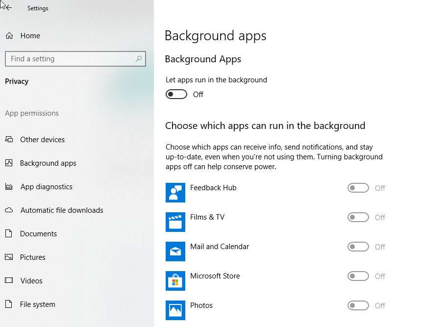 Fix Background Apps in Windows 10 v1803 keep turning on when set to Off