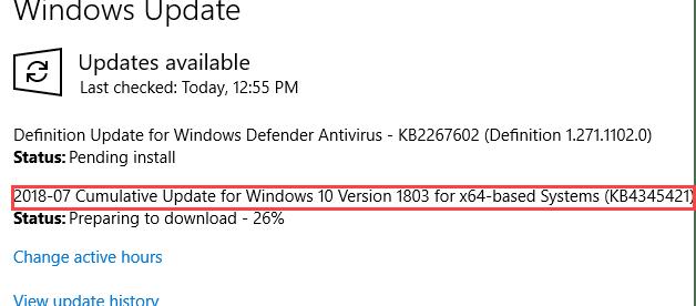windows 10 cumulative update 1803