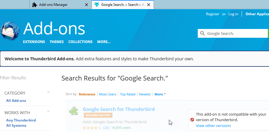 Thunderbird 60: You can\u0027t add Google Search as Search Engine
