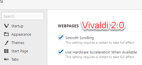 Vivaldi 2 0: How to disable hardware acceleration