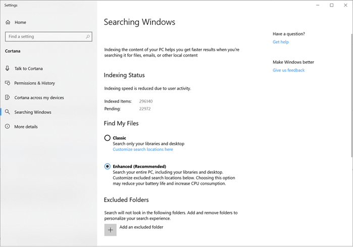 Windows 10 to get enhanced mode for search indexer to index