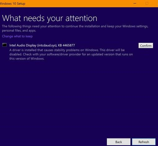 Windows 10 October 2018 Update installation may fail due to Intel