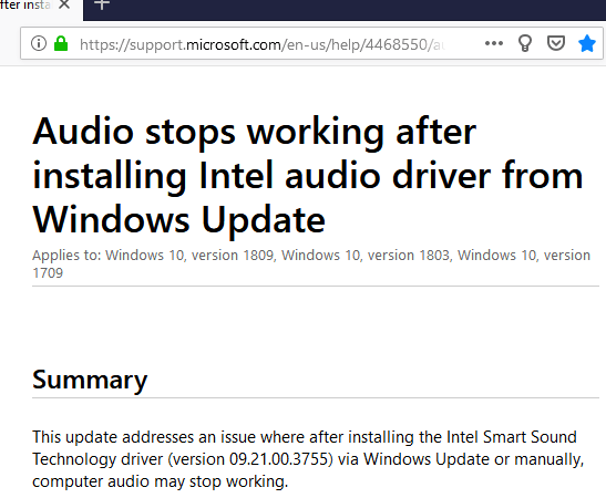 Microsoft releases KB4468550 to Fix Windows 10 Intel Audio driver Issue