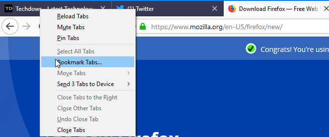 Firefox 64: How to Bookmark All open Tabs at once now?