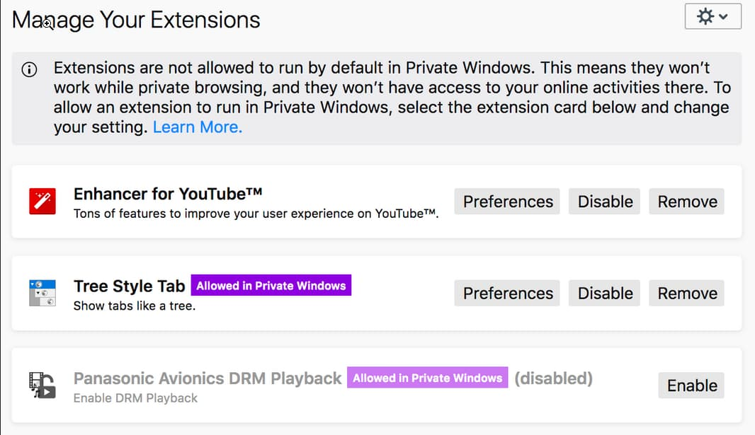 Firefox to disable extensions in Private browsing mode by
