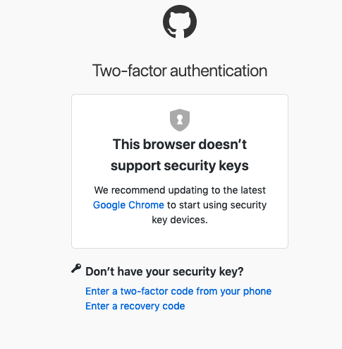 GitHub says Firefox browser doesn't support Security Keys