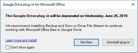 Google to shut down Google Drive Plugin for Microsoft Office
