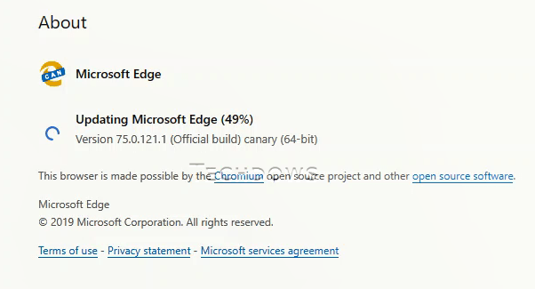 Microsoft Edge Canary receives its first update, Changelog for Edge