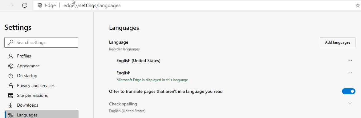 Translate setting in Languages in Chromium Edge
