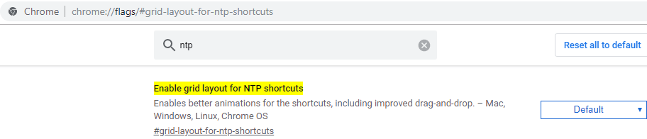 Chrome enable grid layout for New Tab Page Shortcuts