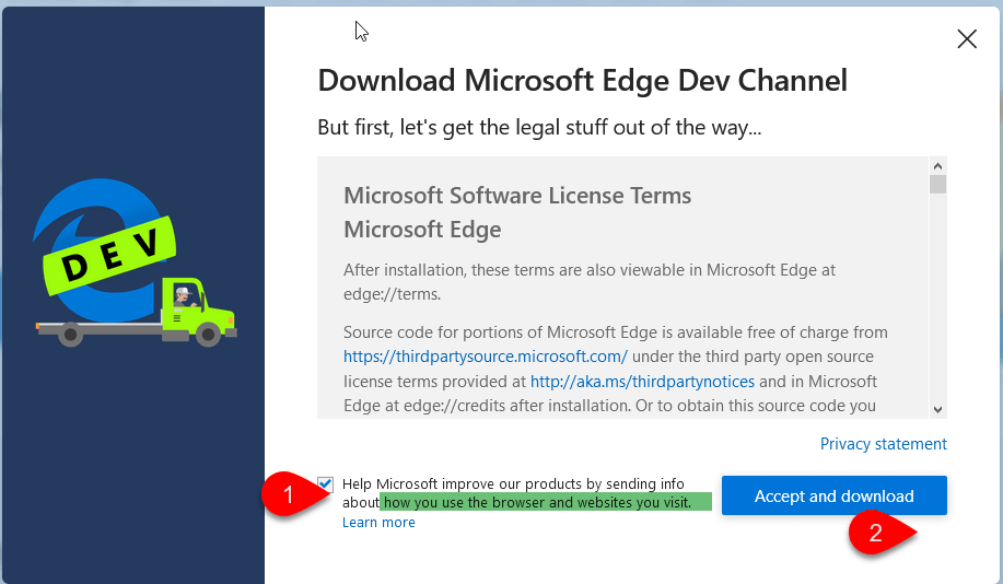 Microsoft Edge insider builds sending your browser usage and