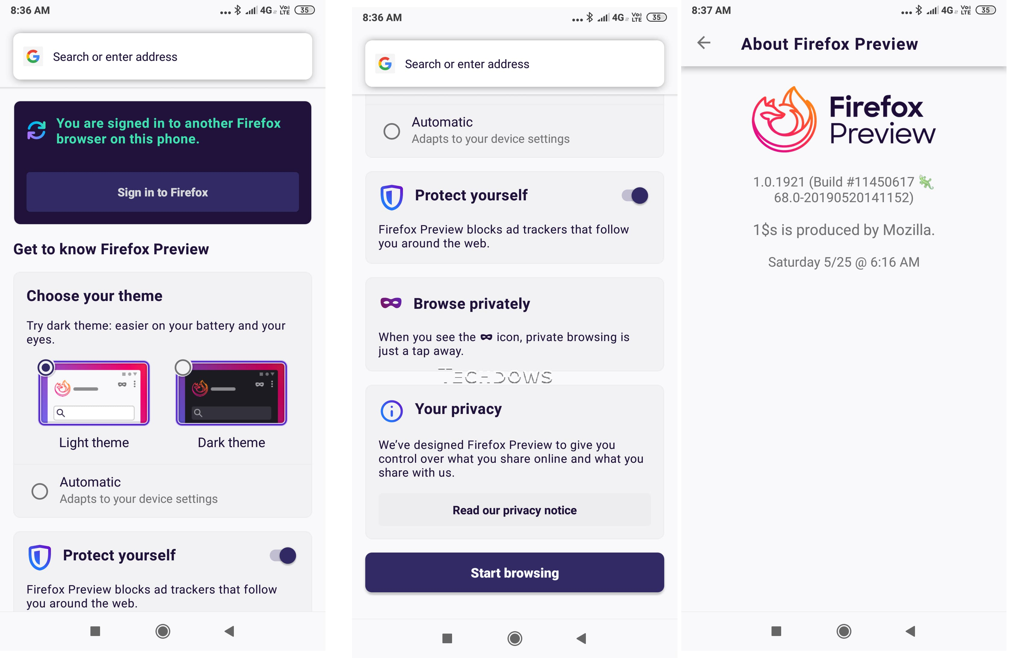 Firefox Preview Android App adds new onboarding Experience