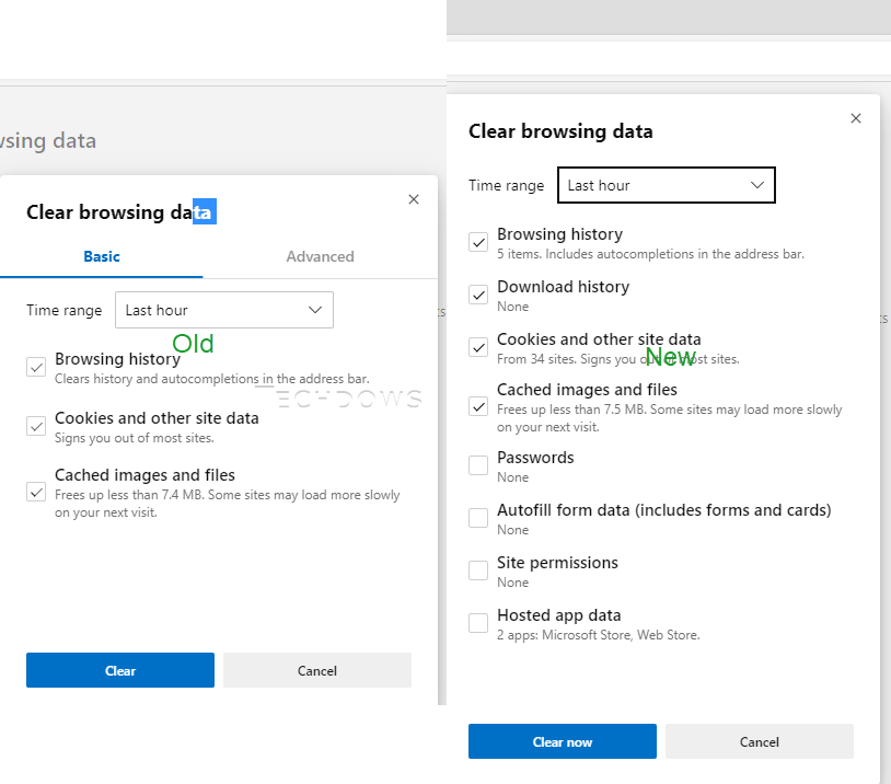 Enable Microsoft Edge's New Clear browsing data dialog in Canary