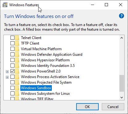 Windows Sandbox now working in Windows 10 1903 after