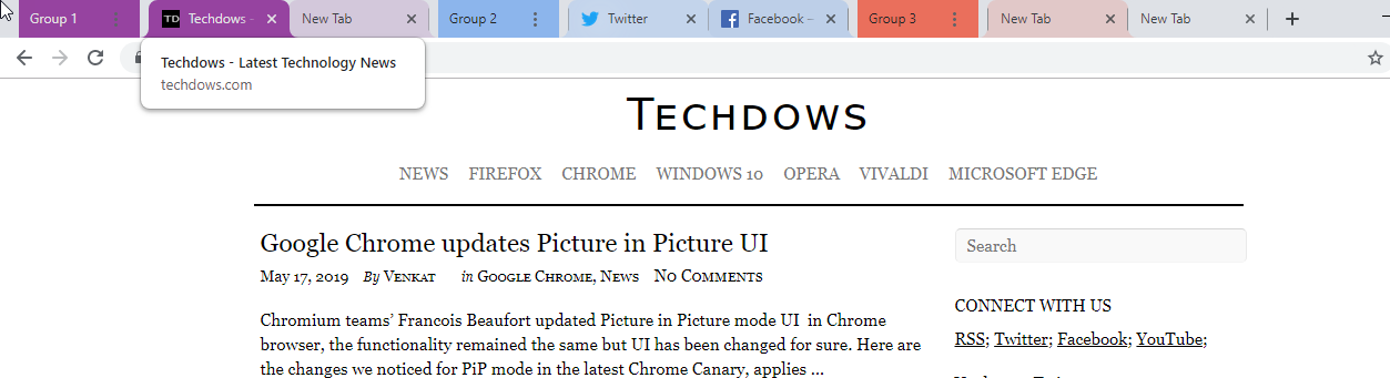 Latest Chrome Canary Update adds Headers to Tab Groups