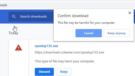 Beware! Chrome/Chromium Edge flags downloads as harmful if