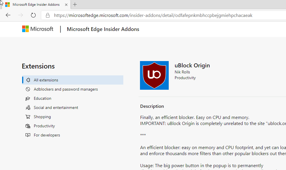 UBlock Origin is now unlisted in Edge Insider Add-ons Store, here is
