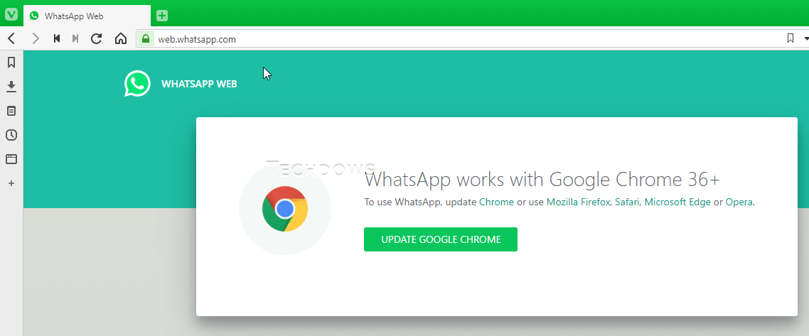 WhatsApp Web doesn't support Vivaldi browser, here is how you can
