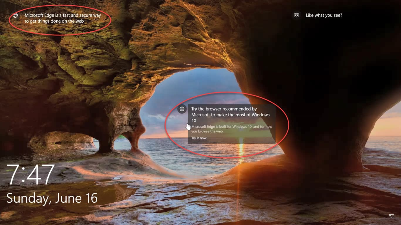 microsoft shows edge browser ads on lock screen in windows