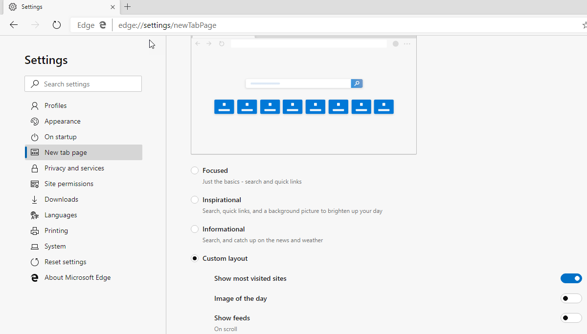New Microsoft Edge now offers New Tab Page Customization