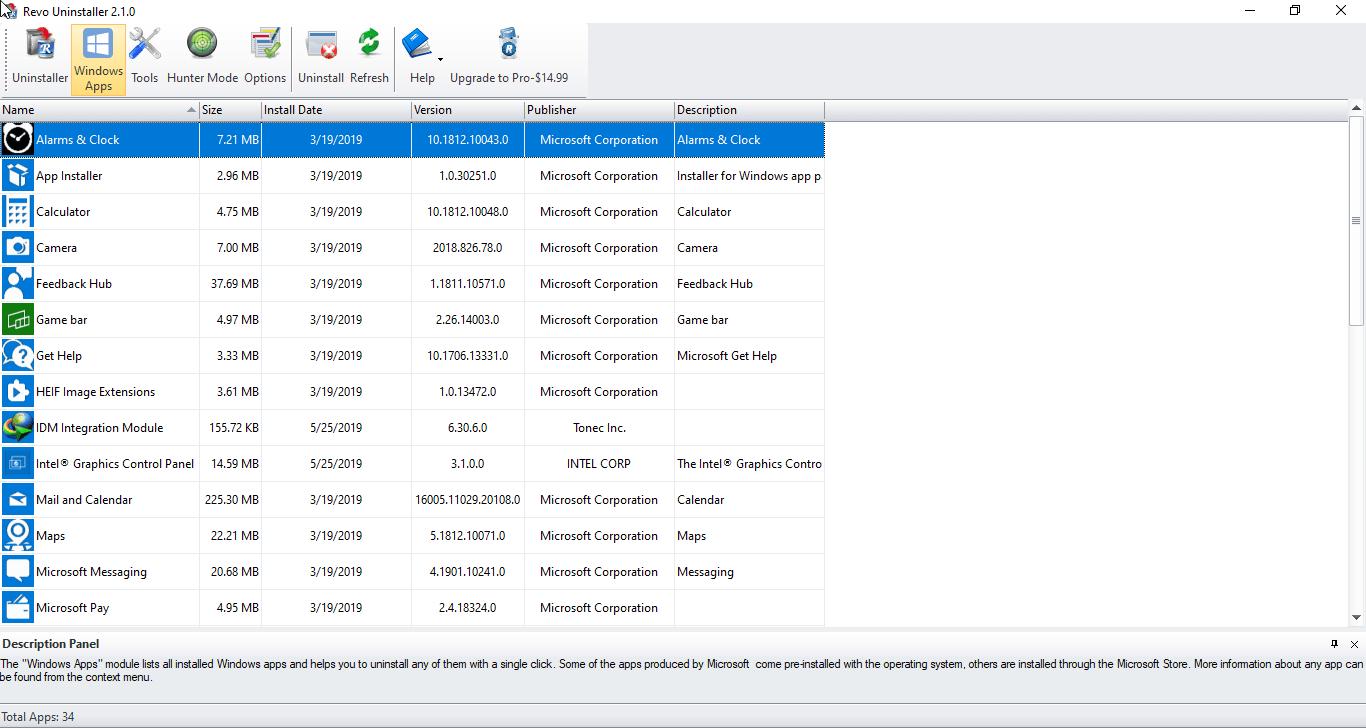 Revo Uninstaller Free version now can uninstall Windows 10 Apps
