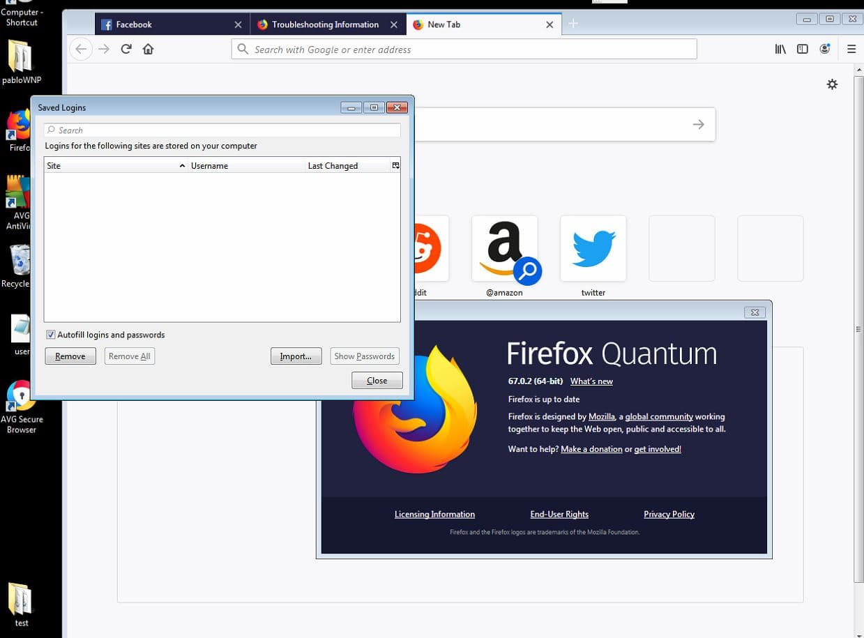 AVG reportedly deleting passwords and logins saved in Firefox 67 0 2