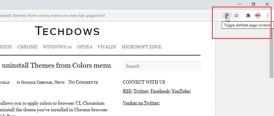 Chrome adds Reader Mode button to Address bar