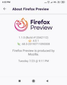 Firefox Preview 1.1.0 发布,第二次更新