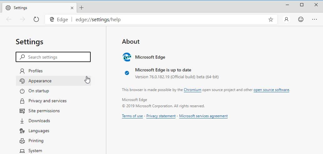 Microsoft Edge Stable and beta based on Chromium 76 leak