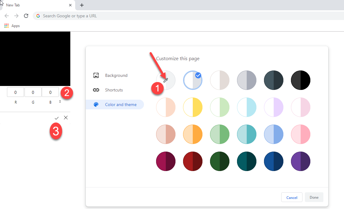 Chrome custom color picker color and theme