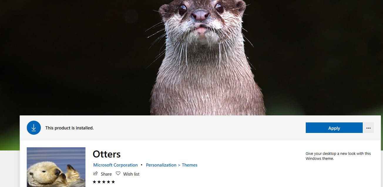 Microsoft releases Otters theme for Windows 10