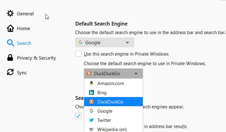 Firefox choose a default search engine in private windows