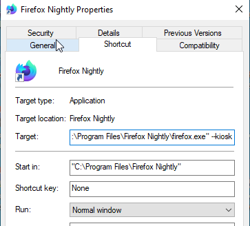 add kiosk command line in Firefox target field