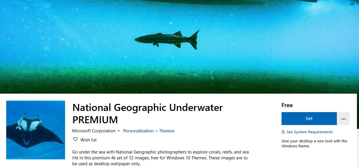 Download National Geographic Underwater Premium 4k Theme For