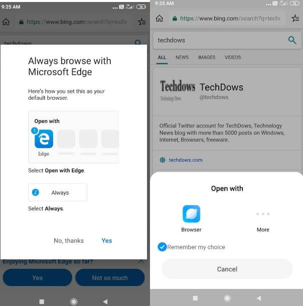 Microsoft Edge For Android Asks Users To Set It As Default