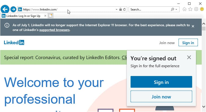 Microsoft S Linkedin To Drop Support For Internet Explorer 11 On July 1